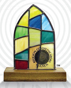 Wilbur Award stained glass trophy